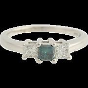 Diamond Engagement Ring - 14k White Gold Color Enhanced Ocean Blue Fine 1.02ctw Unique Engagem