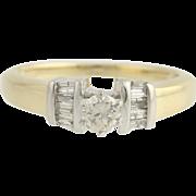 Diamond Engagement Ring - 14k Yellow & White Gold Size 6 1/2 Genuine .40ctw Unique Engagement