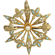 Floral Pearl & Enamel Brooch - 14k Yellow Gold Women's Fine Estate Light Blue