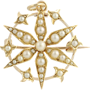 Edwardian Era Cultured Pearl Brooch / Pendant - 14k Yellow Gold Convertible