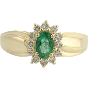 Emerald & Diamond Cocktail Ring - 14k Yellow Gold May Birthstone Genuine .76ctw