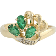 Emerald and Diamond Cocktail Ring - 14k Yellow & White Gold Genuine .83ctw