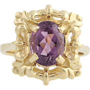 Amethyst Cocktail Ring - 14k Yellow Gold Solitaire February Gift Fine 1.90ctw
