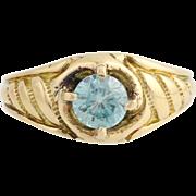 Edwardian Era Blue Zircon Ring - 18k Yellow Gold Solitaire 7 1/2 Fine 1.15ctw