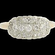 Art Deco Diamond Cocktail Ring - 14k Yellow & White Gold 7 1/4 Genuine .50ctw