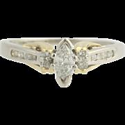 Diamond Engagement Ring - Platinum & 18k Yellow Gold Size 6 1/2 Genuine .51ctw Unique Engageme