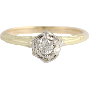 Art Deco Diamond Engagement Ring - 14k & 10k Gold European Cut Genuine .15ctw