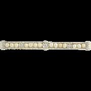 Art Deco Diamond & Pearl Brooch - 14k White Gold Bridal June Gift Genuine .07ctw