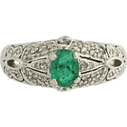 Emerald & Diamond Cocktail Ring - 10k White Gold May BIrthstone Genuine 1.06ctw