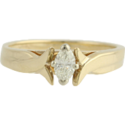 Diamond Engagement Ring- 14k Yellow & White Gold Cathedral Band Marquise 1/4ctw Unique Engagem