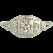 Diamond Engagement Ring - 18k White Gold Old European Cut Genuine .20ctw Unique Engagement Rin