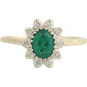 Emerald & Diamond Cocktail Ring- 14k Yellow and White Gold May Gift Genuine .93ctw