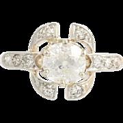 Edwardian Era Diamond Ring - 14k Yellow & White Gold Engagement Fine 1.29ctw
