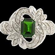 Cocktail Ring Diamonds & Green Chrome Diopside - 14k White Gold Genuine 1.72ctw