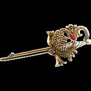 Antique Sword Brooch - .27ctw Mine Cut Diamond Pearl Ruby 14k Yellow Gold Pin