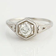 SOLD Antique 1/3ct Diamond Engagement Ring- 14k White Gold