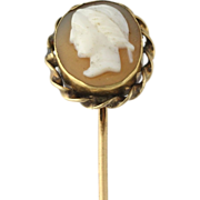 Victorian Cameo Stickpin - 10k Yellow Gold Genuine Shell 1890s-1900s Vintage
