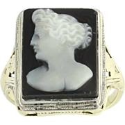 Edwardian Carved Agate Gold Cameo Ring - 14k Yellow & White Gold Floral Polished