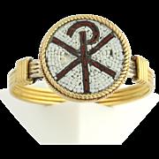 Antique Rare Chi Rho Micro Mosiac Ring- High Karat Yellow Gold Size 6.25 Unique