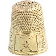 SOLD Vintage Gold Sewing Thimble - Polished 14k Solid Yellow Gold Size 6 Thimble