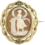 Victorian Cameo Brooch Pin Carved Shell - Gold Filled Vintage Fashion Rotates