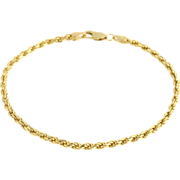 "SOLD Rope Chain Bracelet 8"" - 14k Yellow Gold Italy Estate Jewelry Polished 6.5 grams"
