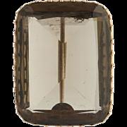 Victorian Smoky Quartz Brooch - 10k Rose Gold Fine Genuine 32.76ctw