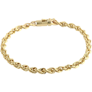 "Twisted Rope Chain Bracelet 8"" - 14k Yellow Gold Polished Estate Women's 4.9mm"