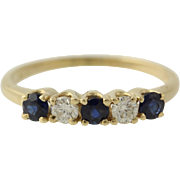 SOLD Sapphire & Diamond Ring - 14k Yellow Gold Wedding Band Size 5 3/4 Genuine .52ctw