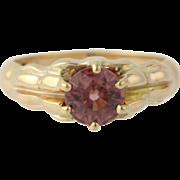Edwardian Era Pink Zircon Ring - 14k Yellow Gold Women's 7 1/4 Genuine 2.00ctw