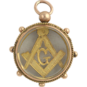 SOLD Antique Glass Masonic Blue Lodge Fob - 9k Yellow Gold c. 1902 British G Square