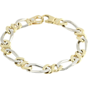 "SOLD 7.5"" Two Toned Link Men's Bracelet - 14k Solid Yellow & White Gold Polished"