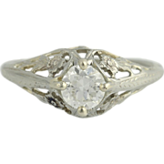Art Deco Diamond Engagement Ring - 18k White Gold Natural Euro Solitaire .57ct