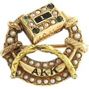 Alpha Kappa Kappa Vintage Fraternity Badge Pin - 18k Yellow Gold Medical Pearls