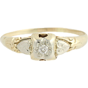 Art Deco Diamond Ring - 14k Yellow & White Gold Mine Cut Solitaire Vintage .05ct