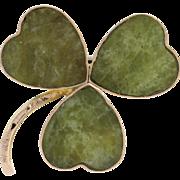 Irish Connemara Marble Clover Brooch - 9k Yellow Gold Antique 1906