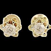 Edwardian Diamond Stud Earrings 14k Yellow Gold Flower Settings Pierced 0.44ctw