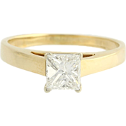 Engagement Ring .81ct Princess Cut Diamond Solitaire - 14k Yellow White Gold 3g