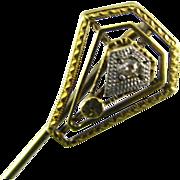 Diamond Stickpin 14k Yellow White Gold Estate Vintage