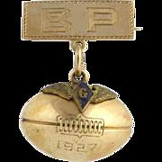 Vintage Strubing Trophy Football Badge Pin - 10k & 14k Yellow Gold 1927 3D