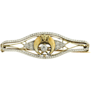 Art Deco Shriners Brooch Genuine .05ct Diamond - 14k Yellow Gold & Platinum Nice