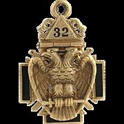 Vintage Knights Templar Tri-Fold Fob - 14k Yellow Gold Scottish Rite Masonic