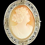 Vintage Carved Shell Cameo Brooch - 14k White Gold Milgrain
