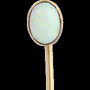 Vintage Opal Stickpin - 14k & 10k Yellow Gold Genuine Gemstone