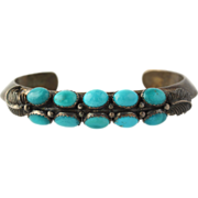 "SOLD Native American Turquoise Cuff Bracelet 6""-Sterling Silver Les Baker Top Quality"