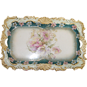 SOLD Unmarked, unsigned  porcelain vanity tray with gold trim, flowers