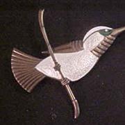 Unusual Ela Denmark Vintage Sterling & Enamel Hummingbird Brooch