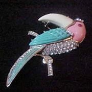 Big Bird Brooch, Hattie Carnegie Unsigned Lucite with Rhinestones