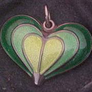David Andersen Norway Sterling  Silver & Enamel Heart Pendant