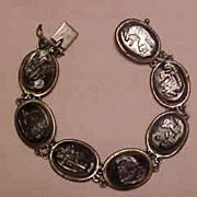 Vintage Mother-of-Pearl Scenic Hand Carved 835 Silver Cameo Bracelet